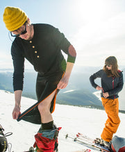 Models skiing in Ziplongs® 3/4 Wool Mens by Northern Playground for Aktiv Scandinavian Activewear