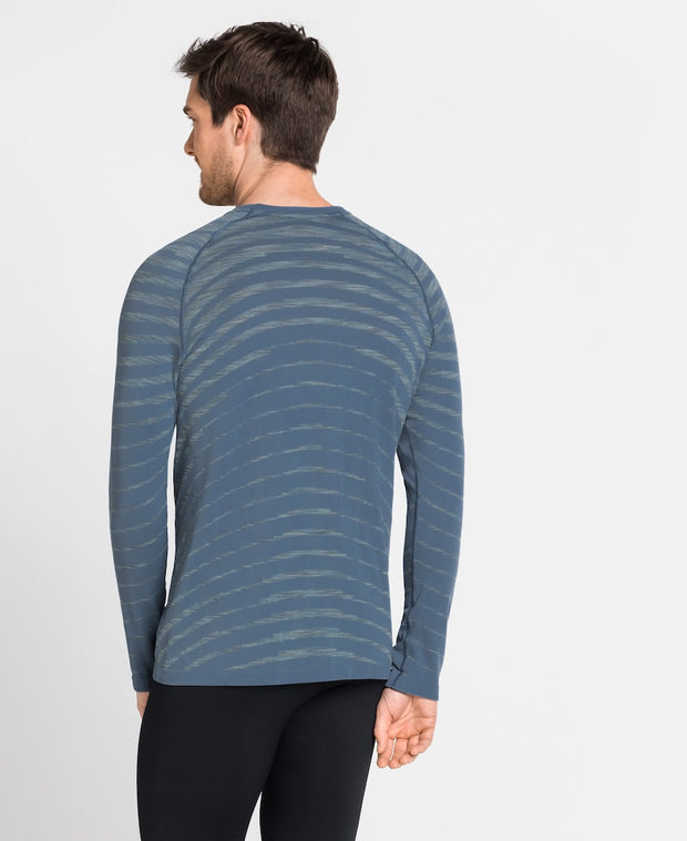 Back view of Man wearing a light blue crew neck long sleeve runners shirt by Odlo