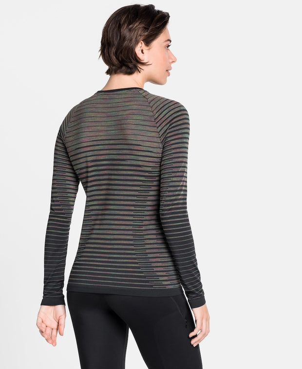 Back view of a Woman wearing a black striped long sleeve running shirt by Odlo