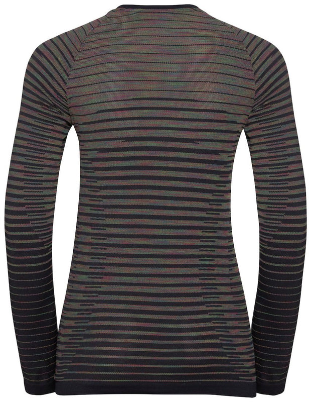Back view of a black striped long sleeve running shirt by Odlo