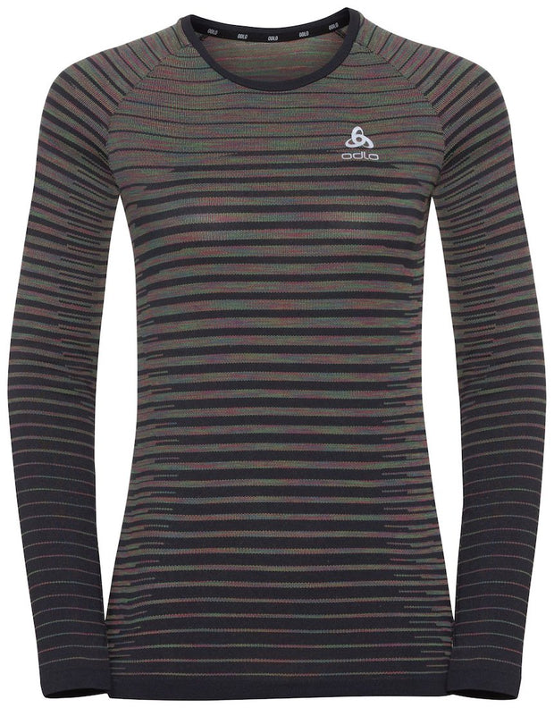 Front view of a black striped long sleeve running shirt by Odlo