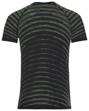 Back view of Black striped running shirt for men by Odlo