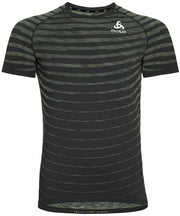 Black striped running shirt for men by Odlo