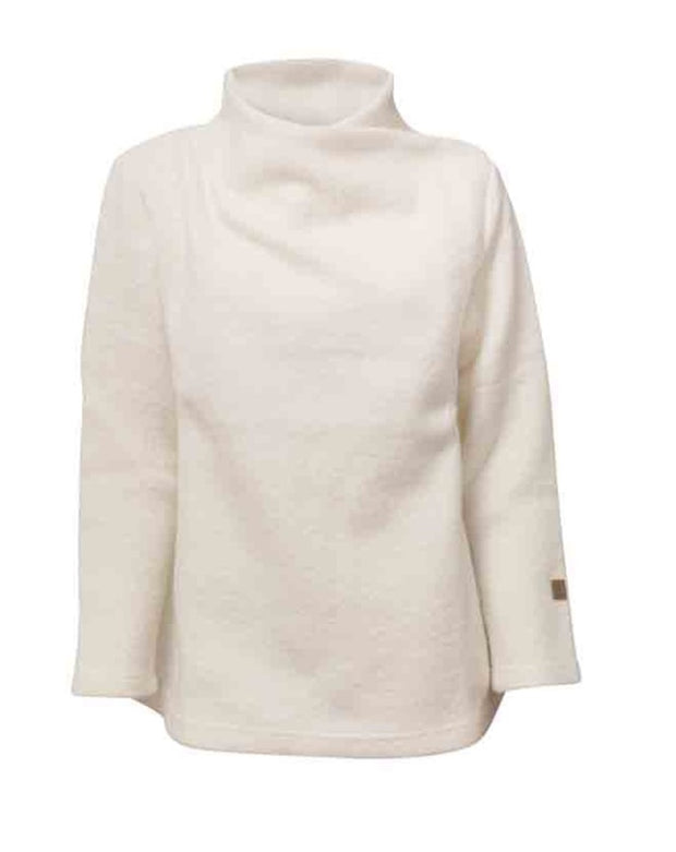 Cream elevated neck sweater for women by Ivanhoe of Sweden
