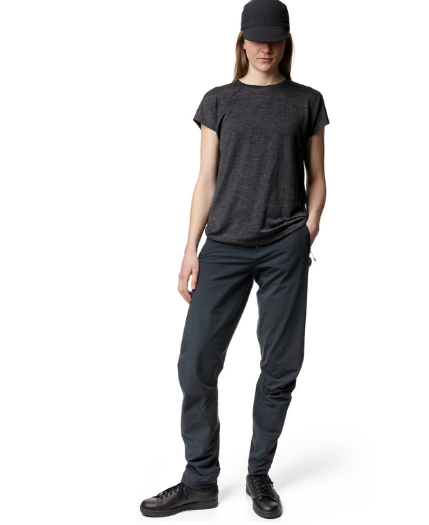 woman wearing women's MTM Thrill Twill Pants by Houdini for aktiv scandinavian clothing and outdoor wear