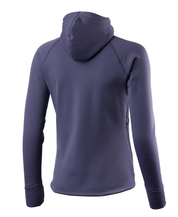 purple women's power houdie (zip-up hoodie) by houdini for aktiv scandinavian clothing and outdoor wear back view