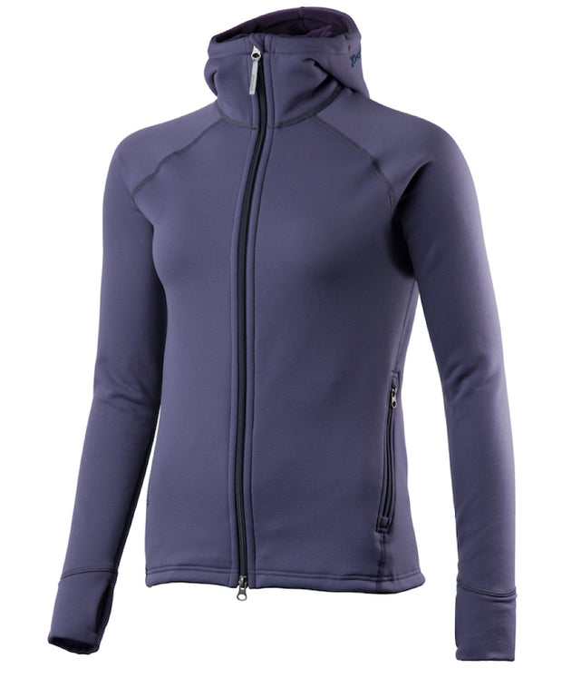 purple women's power houdie (zip-up hoodie) by houdini for aktiv scandinavian clothing and outdoor wear
