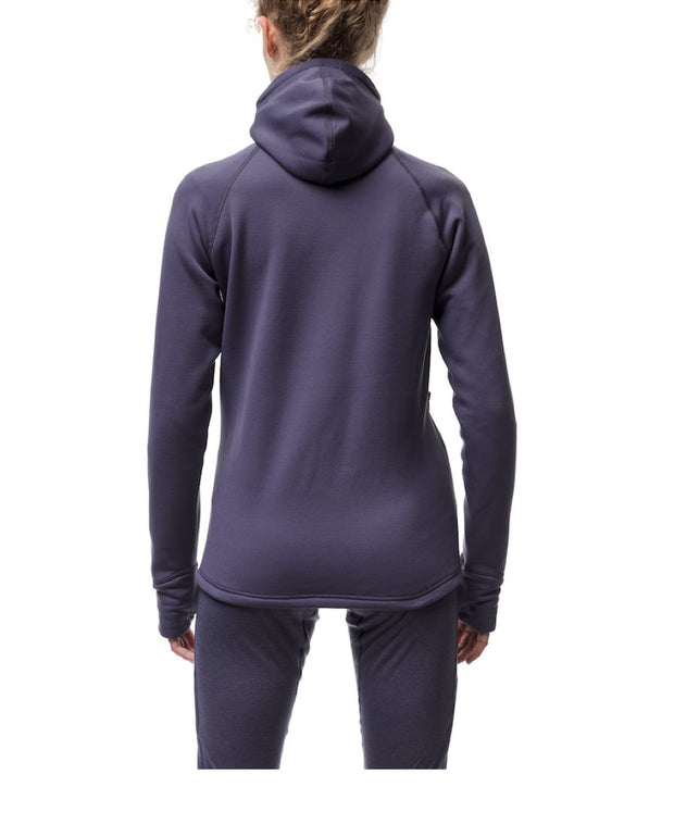 woman wearing purple women's power houdie (zip-up hoodie) by houdini for aktiv scandinavian clothing and outdoor wear back view