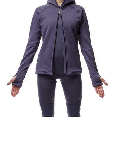 woman wearing women's power houdie (zip-up hoodie) by houdini for aktiv scandinavian clothing and outdoor wear