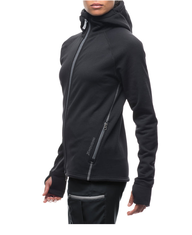 woman wearing women's power houdie (zip-up hoodie) by houdini for aktiv scandinavian clothing and outdoor wear side view