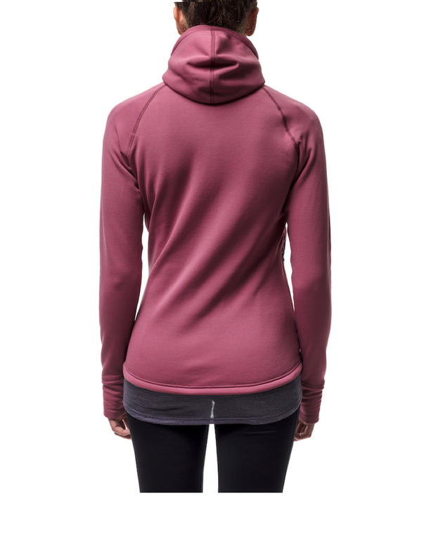 pink women's power houdie (zip-up hoodie) by houdini for aktiv scandinavian clothing and outdoor wear back view