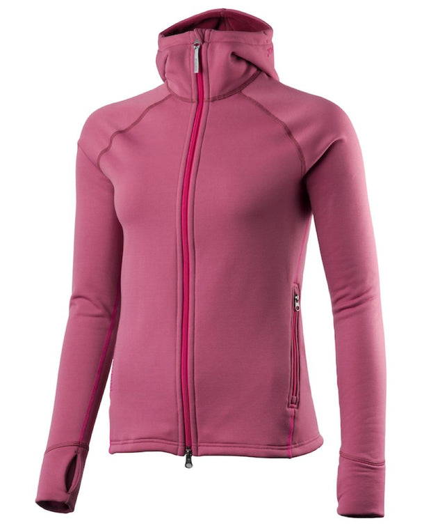 pink women's power houdie (zip-up hoodie) by houdini for aktiv scandinavian clothing and outdoor wear