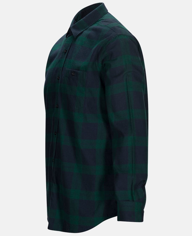 Side view of Green Flannel shirt for men by Peak Performance
