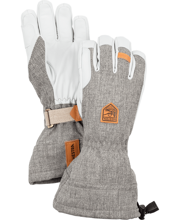 hestra army leather patrol gauntlet gloves in light grey available at aktiv