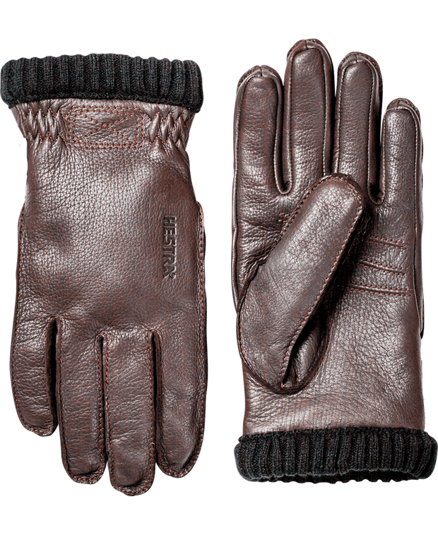 hestra deerskin primaloft rib gloves in dark brown available at aktiv