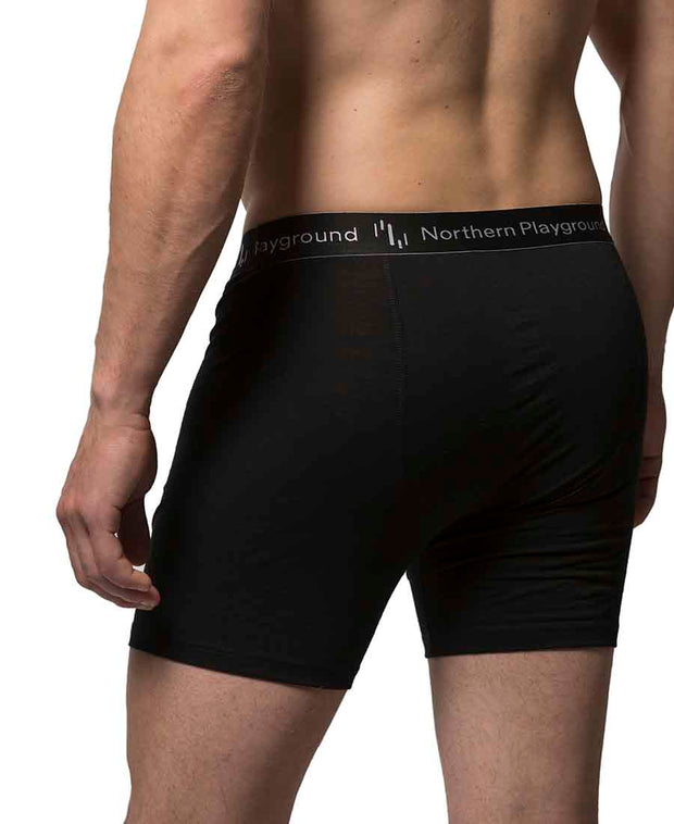 organic wool & silk boxers mens by northern playground for aktiv scandinavian outdoor wear side view