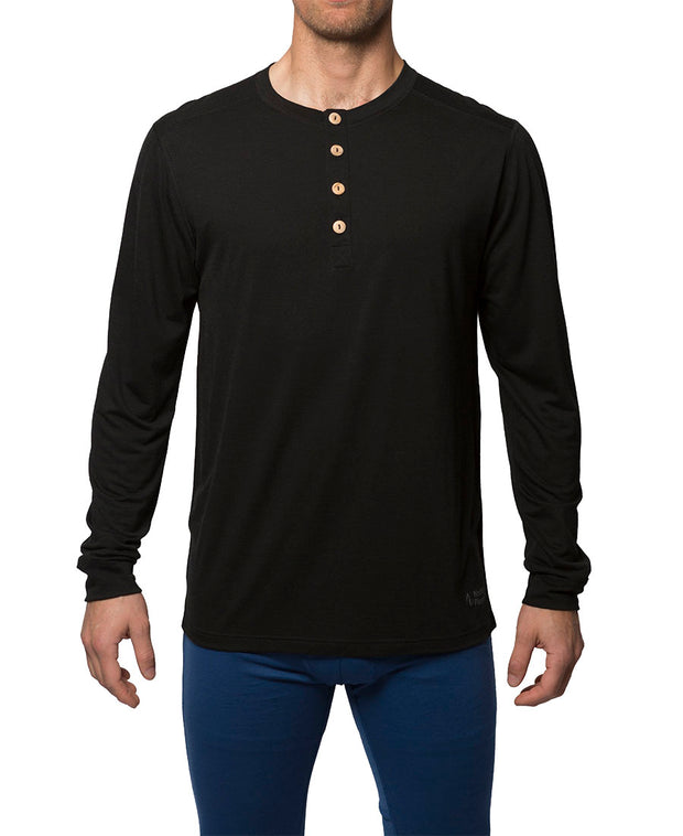organic wool & silk long sleeve shirt mens black by northern playground for aktiv scandinavian outdoor wear front view