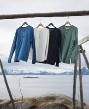 organic wool & silk long sleeve shirts mens by northern playground for aktiv scandinavian outdoor wear hanging outside in assorted colors