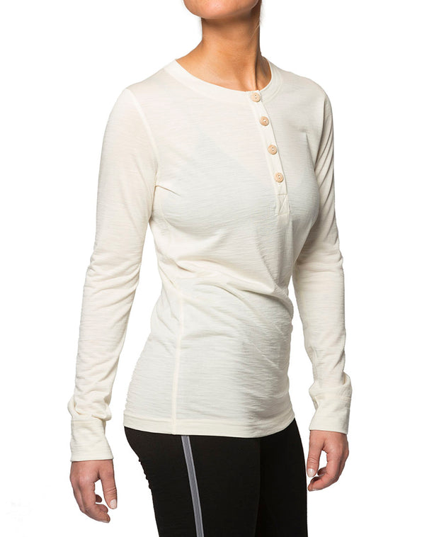 organic wool & silk long sleeve shirt womens white by northern playground for aktiv scandinavian outdoor wear side view