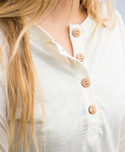 olive wood buttons on organic wool & silk long sleeve shirt womens white by northern playground for aktiv scandinavian outdoor wear