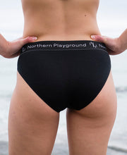 models in organic wool & silk panties by northern playground for aktiv scandinavian outdoor wear back view