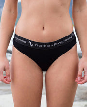 model in organic wool & silk panties by northern playground for aktiv scandinavian outdoor wear front view