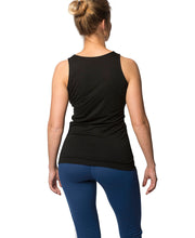 organic wool & silk tank top womens black by northern playground for aktiv scandinavian outdoor wear back view