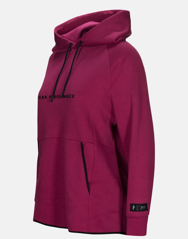 Side view of Pink hoodie for women by Peak Performance