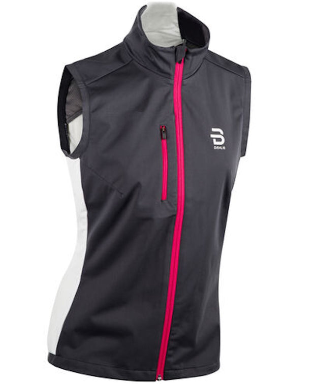 Dark running vest with pink zipper for women by Daehlie