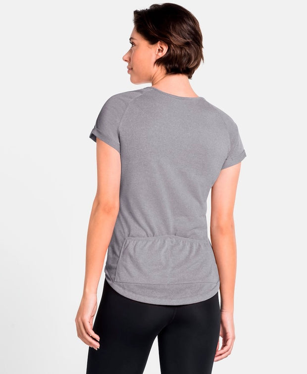 Woman wearing a gray buttoned cycling shirt by Odlo back view