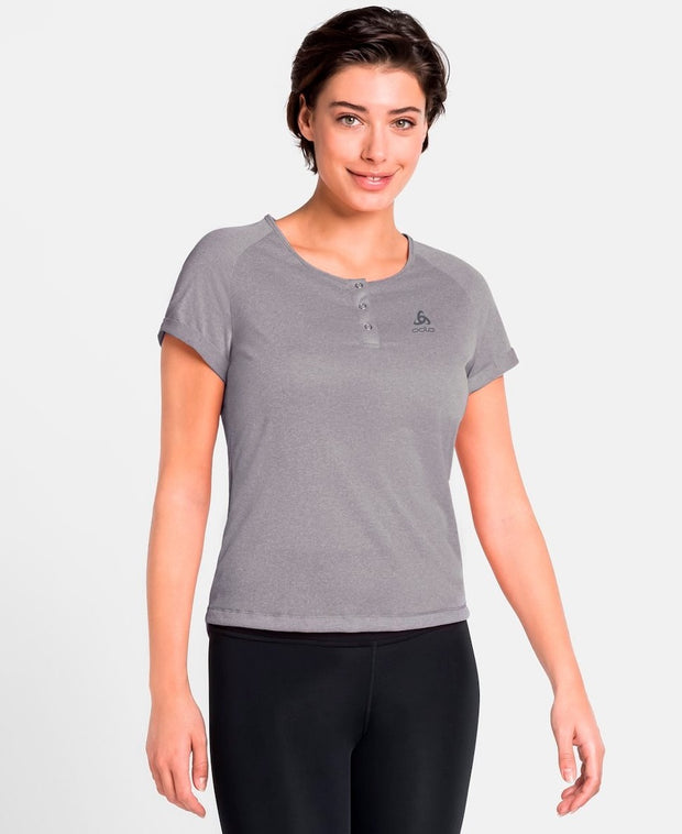 Woman wearing a gray buttoned cycling shirt by Odlo front view