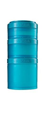 Blenderbottle Prostak Twist N' Lock Storage Jars Expansion 3-Pak With Pill Tray, Teal/Teal