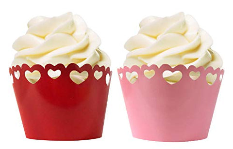 Valentines Day Fluted Die Cut Out Hearts Cupcake Wrappers - Pink &Amp; Red - 24 Wraps