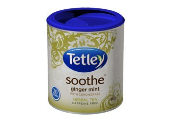 Tetley Soothe Ginger Mint With Lemongrass Herbal Tea Caffeine Free 20 Round Tea Bags