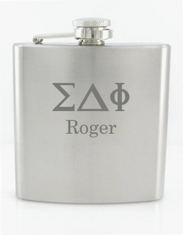 Personalizied 6Oz Greek Letters Engraved Fraternity Flask Free Engraving.