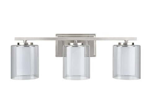 Aspen Creative 62103, Three-Light Metal Bathroom Vanity Wall Light Fixture, 23  Wide, Transitional Design In Satin Nickel With Clear Glass Shade