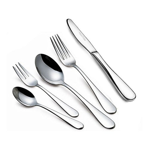 Horntide 20-Piece Flatware Sets Dinner Knife Fork Spoon 5-Piece Place Setting Service For 4 Person Stainless Steel Mirror Polishing