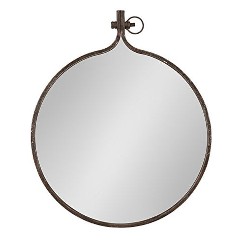 Kate And Laurel Yitro Round Industrial Rustic Metal Framed Wall Mirror, 23.5  Diameter, Bronze