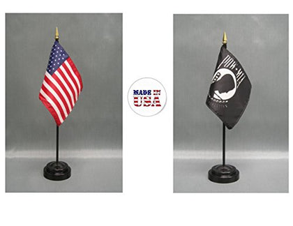 Made In The Usa. 1 American And 1 Prisoner Of War (Pow Mia) 4 X6  Miniature Desk &Amp; Table Flag, Includes 2 Flag Stands &Amp; 2 Small Mini Stick Flags