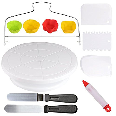Cake Decorating Supplies With Revolving Cake Turntable,2 Icing Spatula ,4 Reusable Silicone Baking Cups,1 Cake Leveler Layer,3 Decorating Comb/Icing Smoother With Sided &Amp; Angled