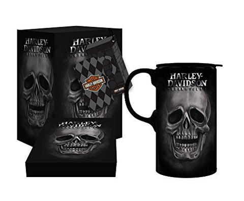 Harley-Davidson Tall Boy Travel Latte Mug, H-D Skull, Gift Box Set 3Tbt4906