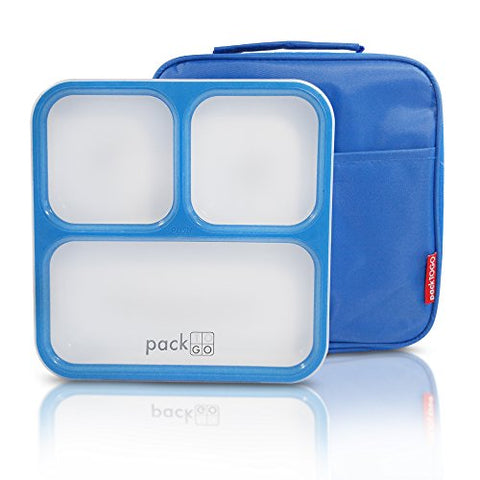 Packtogo Leakproof Bento Lunch Box Container Set With Insulated Lunch Bag For Adults (Blue)