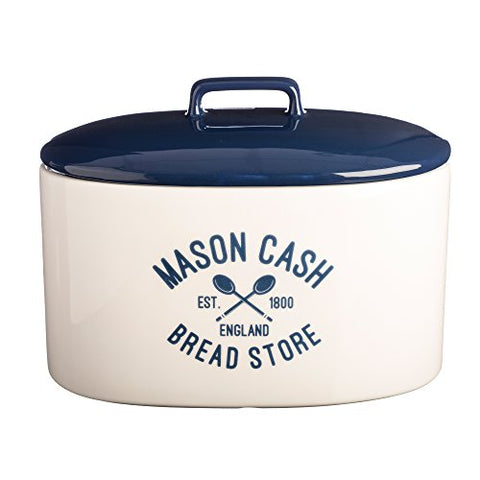 Mason Cash Varsity Ceramic Bread Crock, 6-Quarts, Cream, Navy Blue