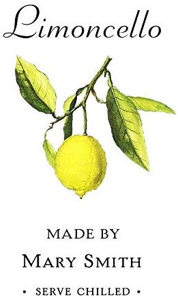 "Personalized Limoncello Labels, Euro Style, 3"" X 2"" - 18 Per Pkg"