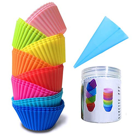 Lasten Silicone Cupcake Liners With Pastry Bag And Storage Tank As Bonuses, Reusable &Amp; Non-Stick Baking Cups, Standard Muffin Cups Chocolate Holders Truffle Cups (24 Pcs /8 Colors)