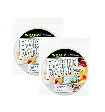 Wrapok 8 Kitchen Perforated Parchment, Bamboo Steamer Liners, Not Stick Round Baking Papers, 2 Packs, Total 100 Count