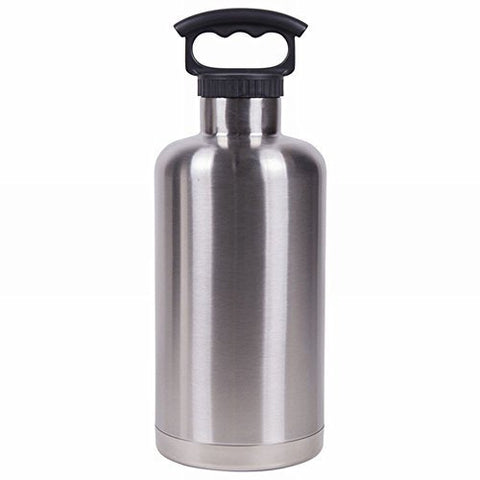 64 Oz.Silver Vacuum Insulated Tank Growler, Stainless Steel