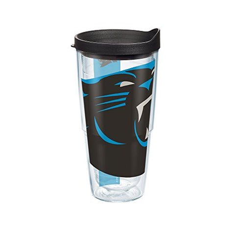 Tervis Nfl Carolina Panthers Colossal Wrap Tumbler With Black Travel Lid, 24 Oz, Clear