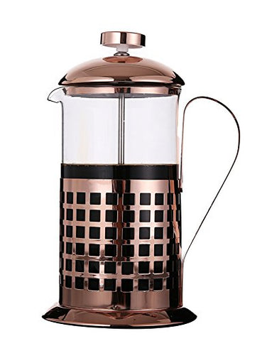 Rhysens Copper Plated Stainless Steel French Press, Coffee And Tea Maker, 8 Cup/4 Mug (1 Liter, 34 Oz) (Model-B)
