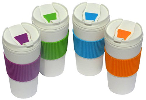 Set Of 4 Double Wall Insulated Travel Mugs With Colorful Wraps And Lids, 16 Oz. - Orange, Purple, Green, Blue